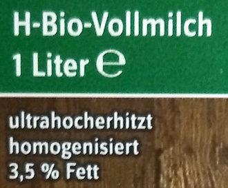 Haltbare Bio-Vollmilch - Ingrédients