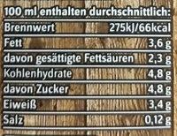 Haltbare Bio-Vollmilch - Informations nutritionnelles - de