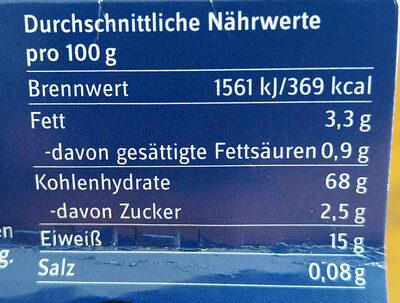 Unsere Heimat - Spiralnudeln - Informations nutritionnelles