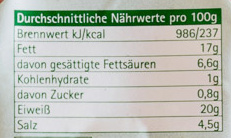 Lardon schinkenwürfel - Voedingswaarden - de