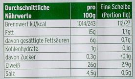 Schwarzwälder Schinken - Voedingswaarden - de