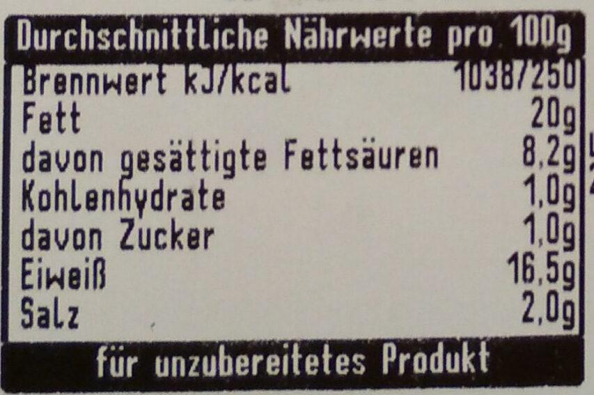 Grobe Bratwurst - Nährwertangaben - de