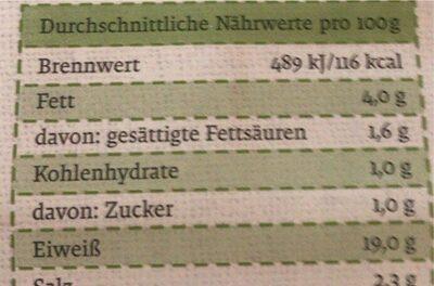 Hinterkochschinken - Valori nutrizionali - de