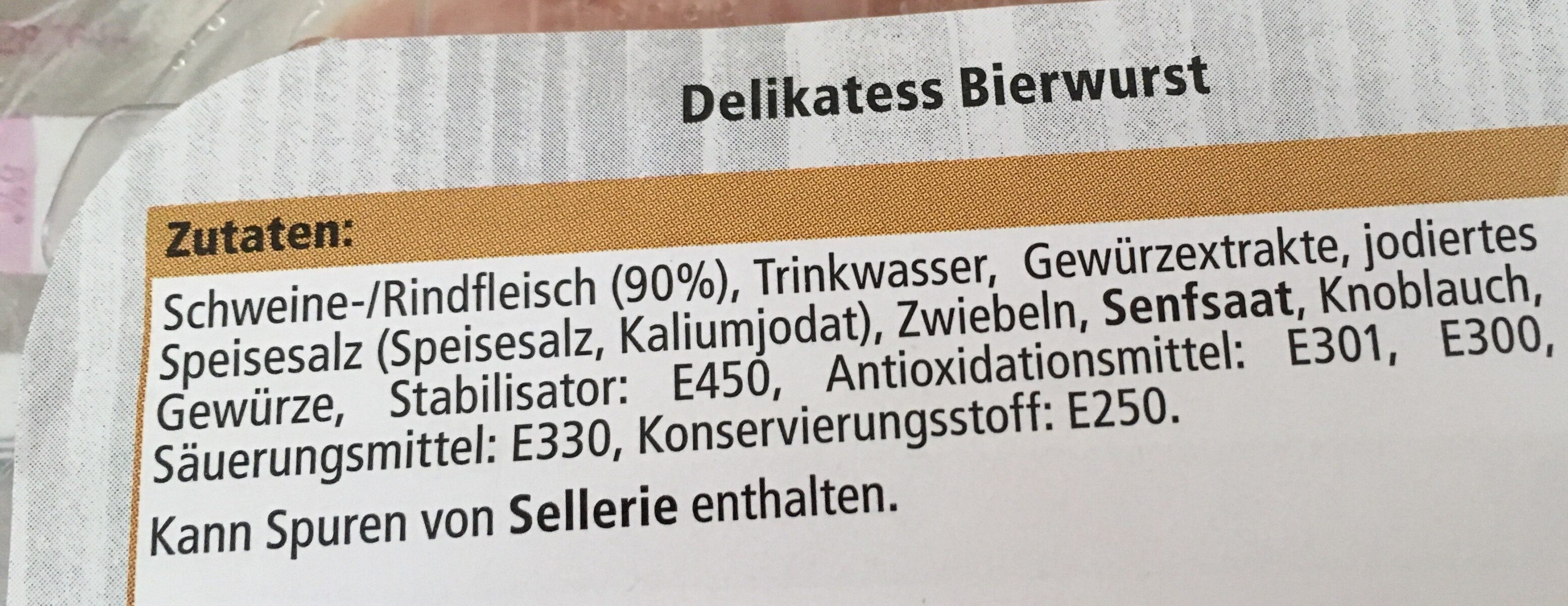 Delikatess Bierwurst - Ingredients - de