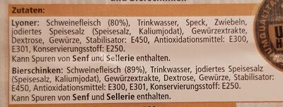 Delikatess Aufschnitt mit Lyoner und Bierschinken - Ingredients - de