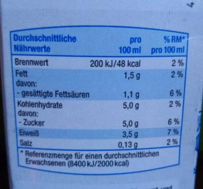 Fettarme H-Milch 1,5% - Voedingswaarden