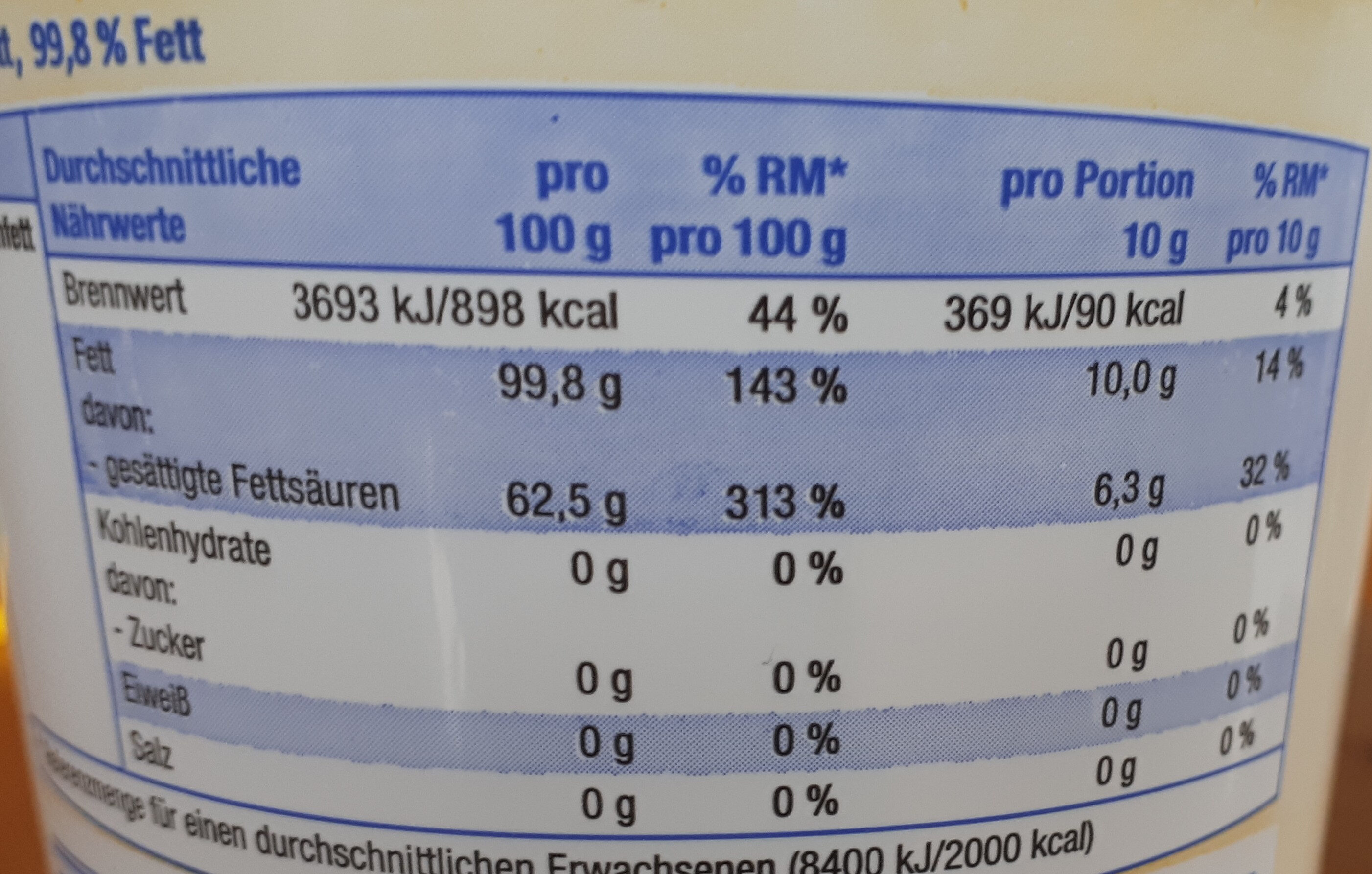 Feines Butterschmalz - Nutrition facts
