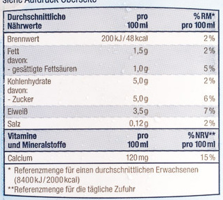 frische fettarme Milch - Nährwertangaben - de