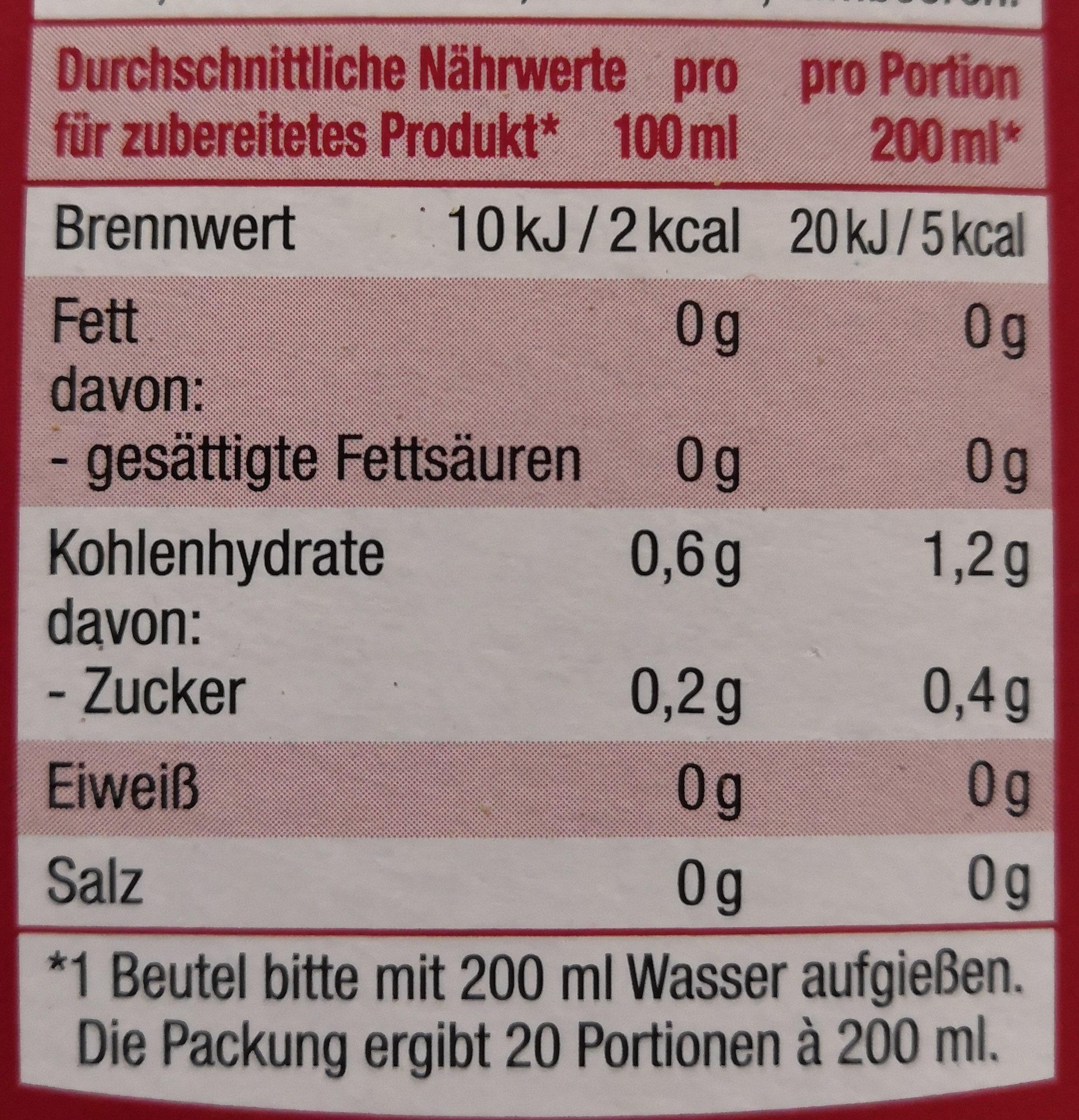 Erdbeere Himbeere (Tee) - Informations nutritionnelles - de
