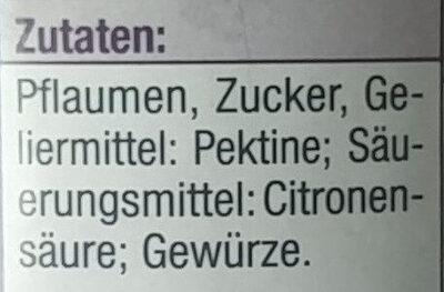 Pflaumenmus, fein gewürzt - Ingrediënten - de