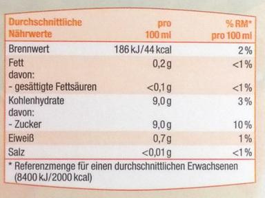 Orangen Saft - Nutrition facts - de