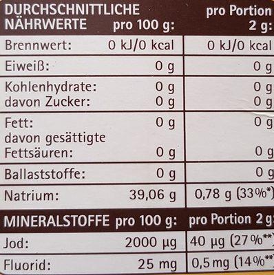 Jodsalz mit Fluorid - Nährwertangaben