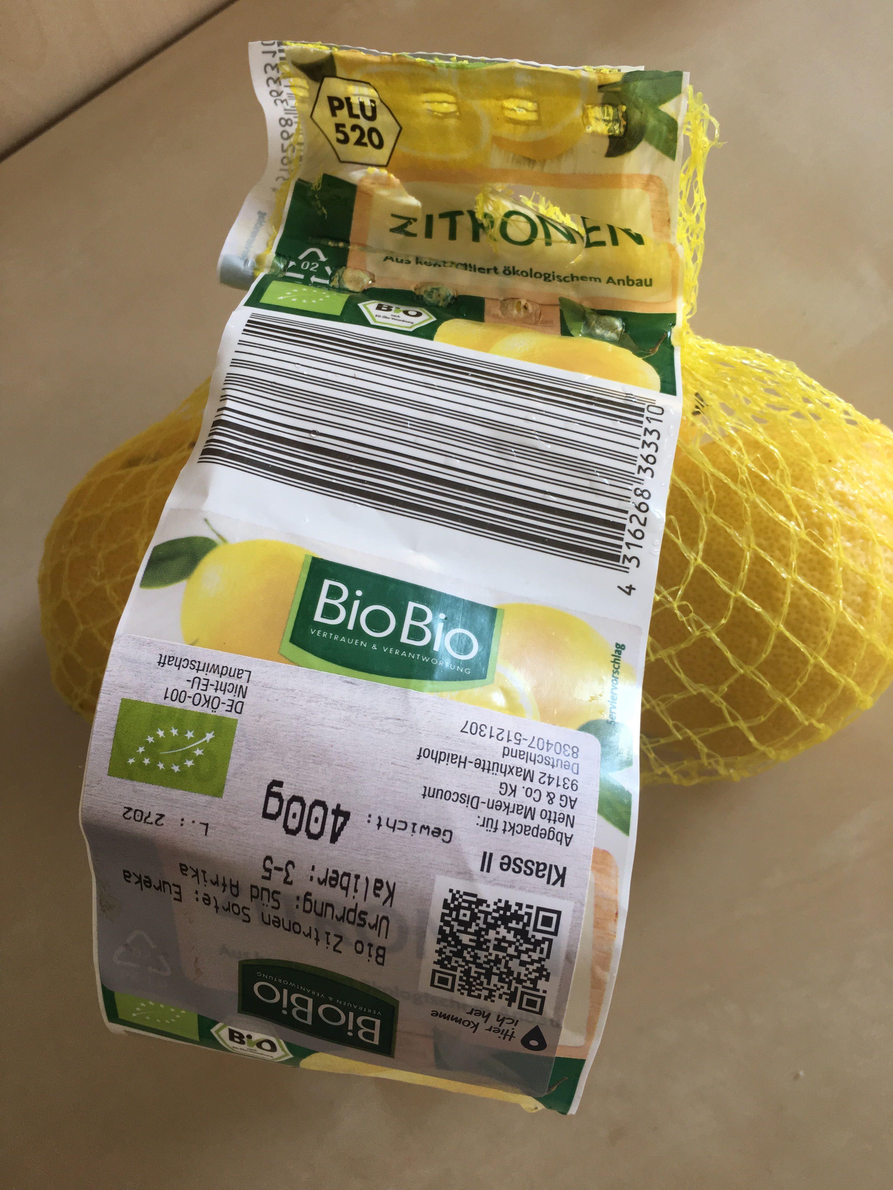 Zitronen aus kontrolliert ökologischen Anbau - Produit