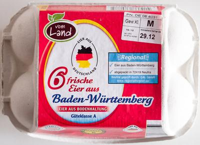 6 frische Eier aus Baden-Württemberg - Nährwertangaben