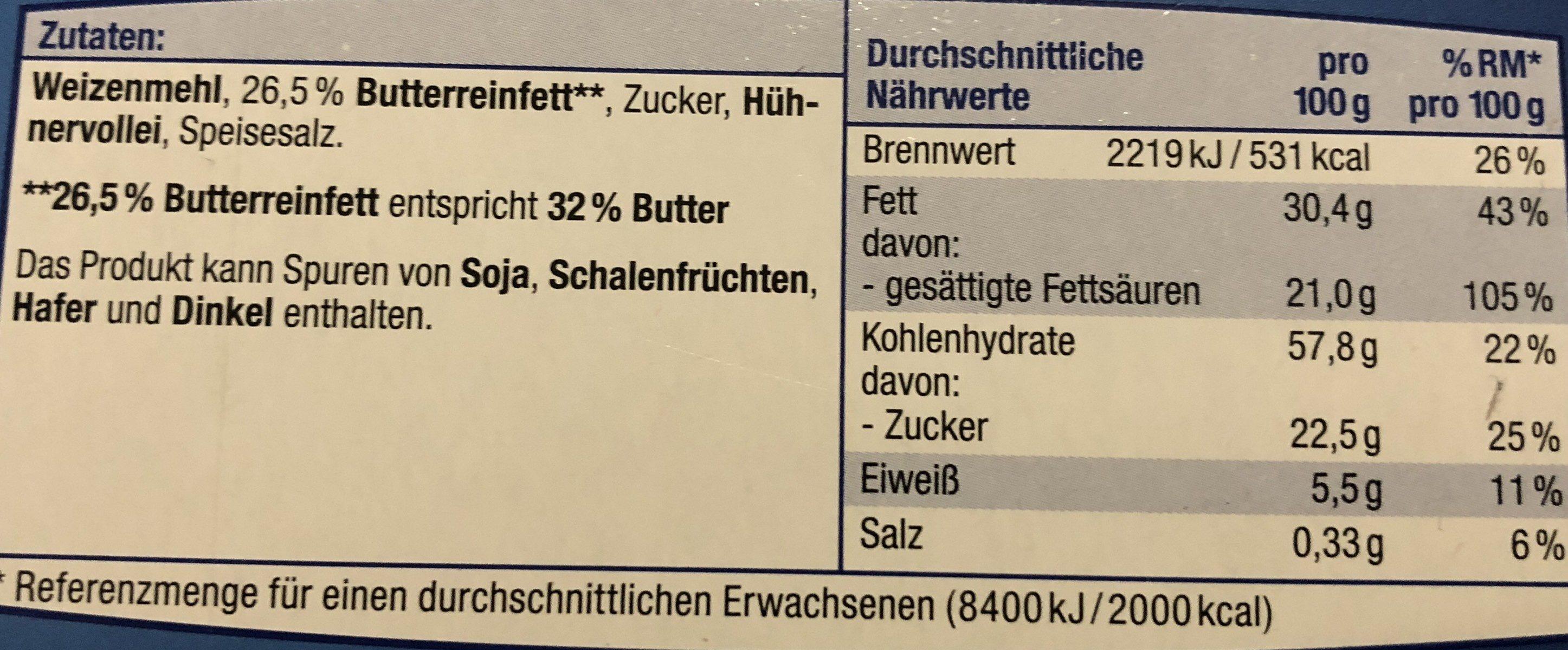 Butter Ringe - Ingrédients - fr