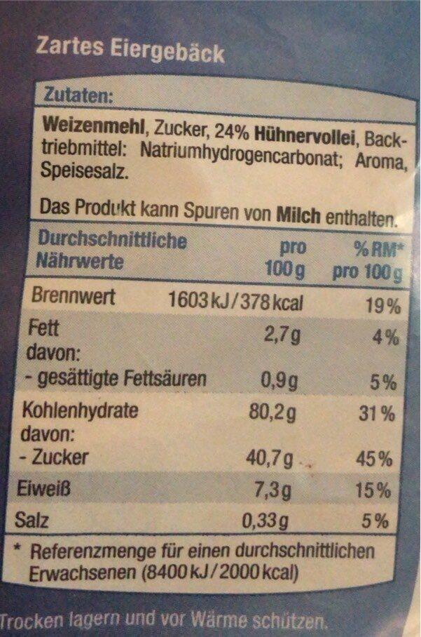 Feine Eierplätzchen - Nährwertangaben - de