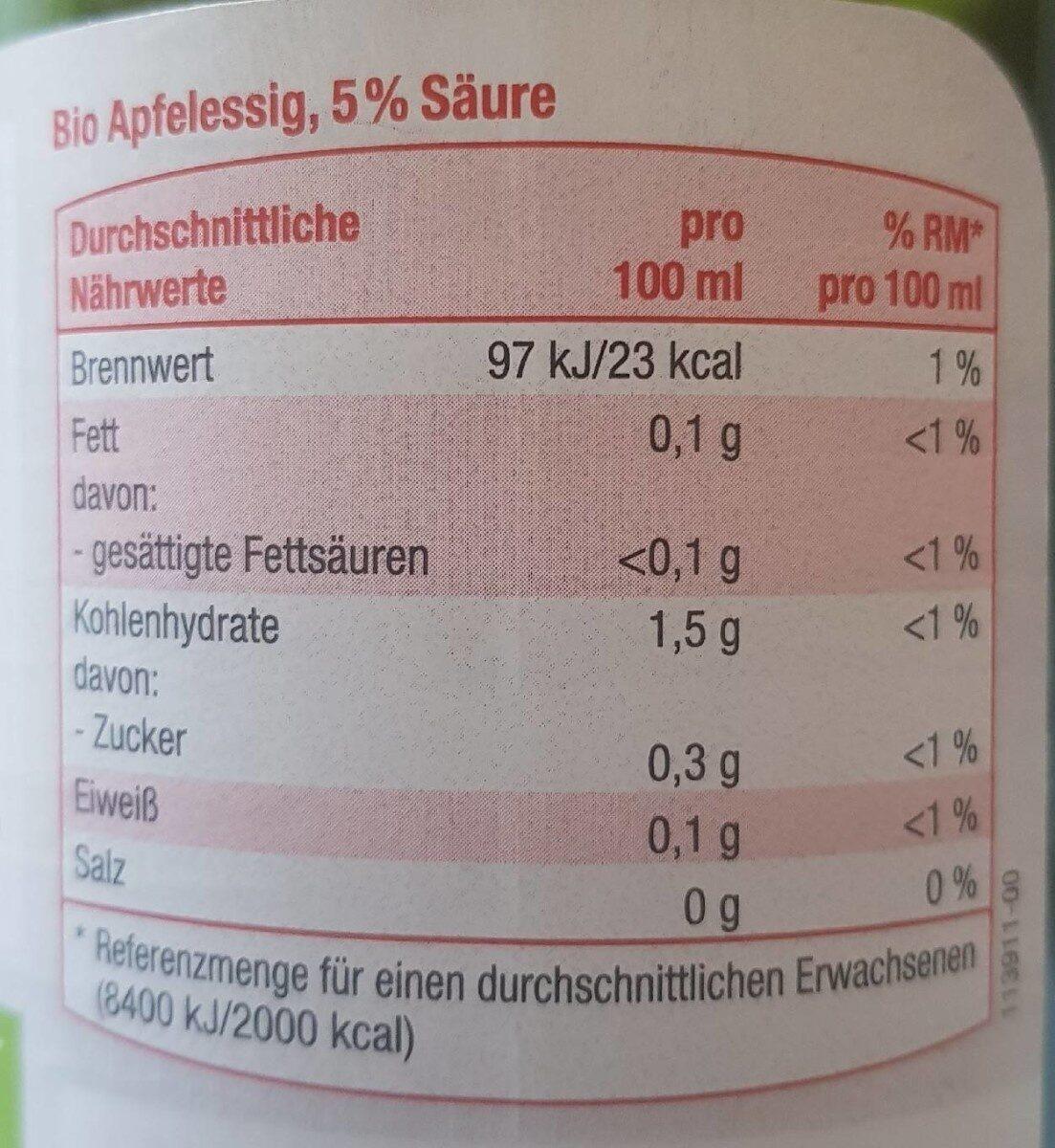 Apfelessig - Informations nutritionnelles - en