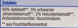 Heimische Früchte Apfel - Schwarze Johannisbeere - Ingredients