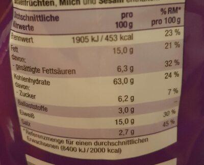 Mini Brotchips Knoblauch - Nährwertangaben - de