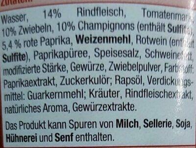 Gulaschsuppe - Zutaten - de