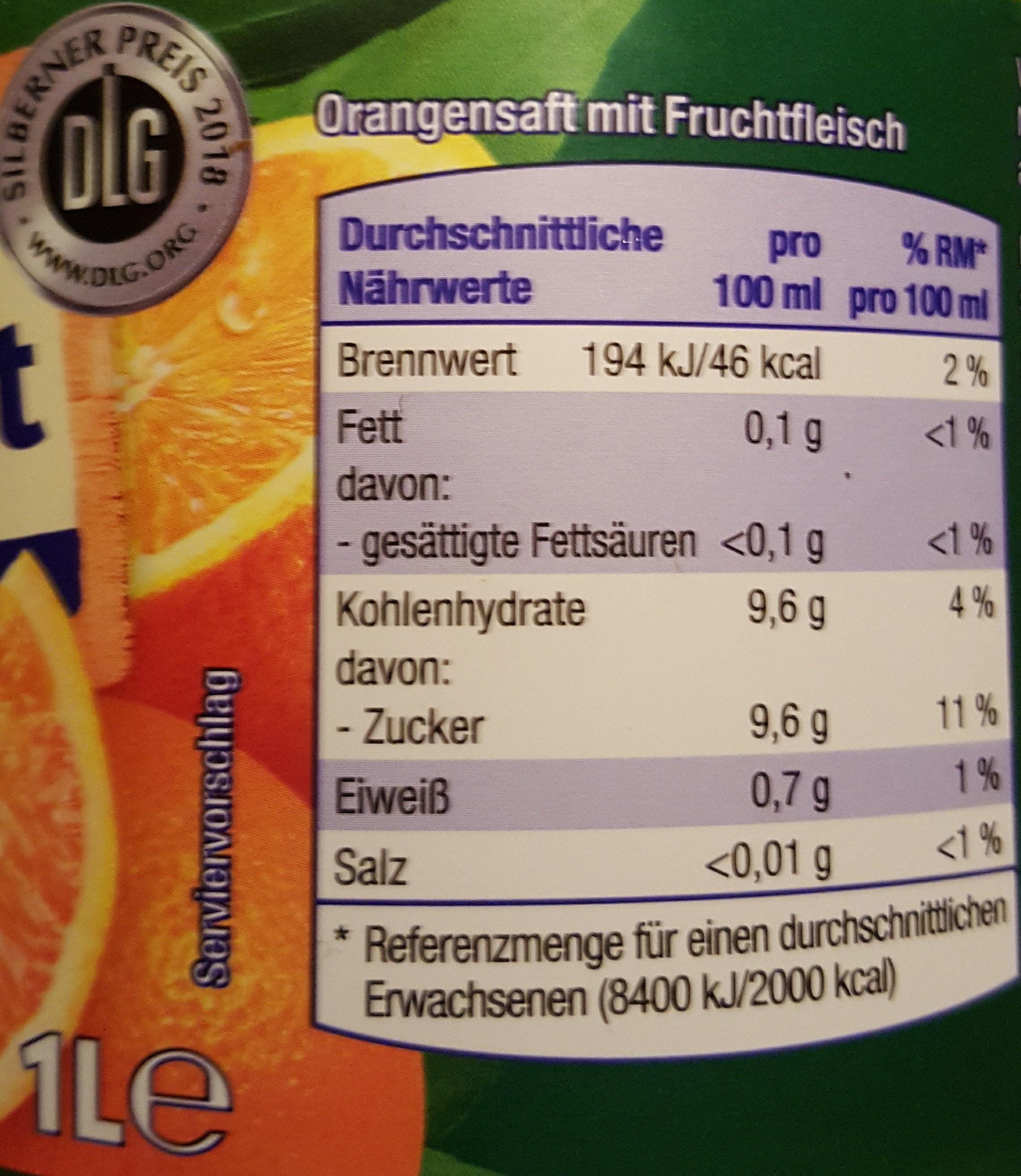 Fruchtstern - Orange 100% Direktsaft Mit Fruchtfleisch - Voedingswaarden - de