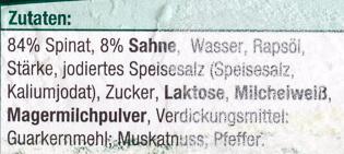 Rahmspinat tiefgefroren - Ingredients