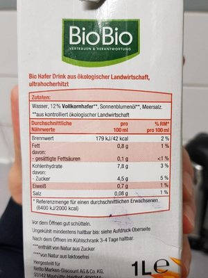Hafer-Drink - Nutrition facts
