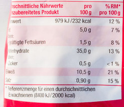 Spinat-Ricotta Tortellini - Nutrition facts