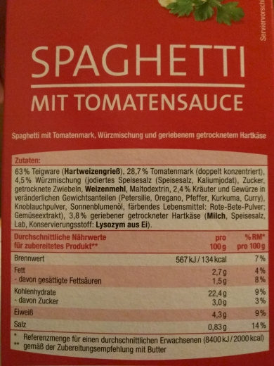 Spaghetti mit Tomatensauce - Nutrition facts