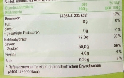 Saure Apfelringe - Nutrition facts