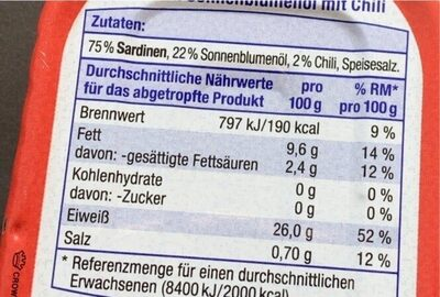 Sardinen in Sonnenblumenöl mit Chili - Nährwertangaben - de