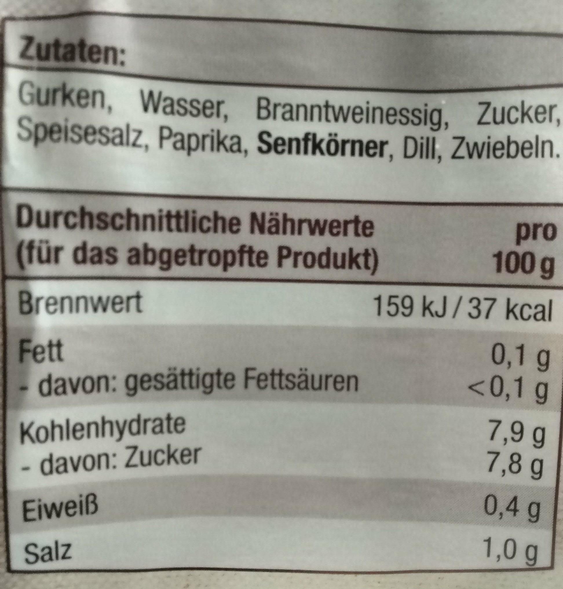 Gewürzgurken - Nutrition facts - de