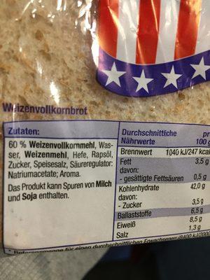 American Style Sandwich Scheiben - Inhaltsstoffe