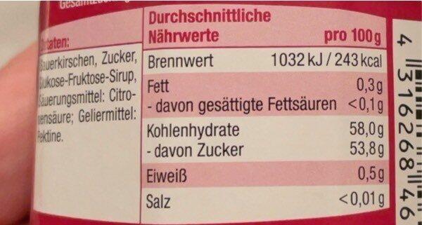 Sauerkirsch Konfitüre Extra - Voedingswaarden - de