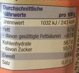Erdbeer-Rhabarber Konfitüre - Informations nutritionnelles