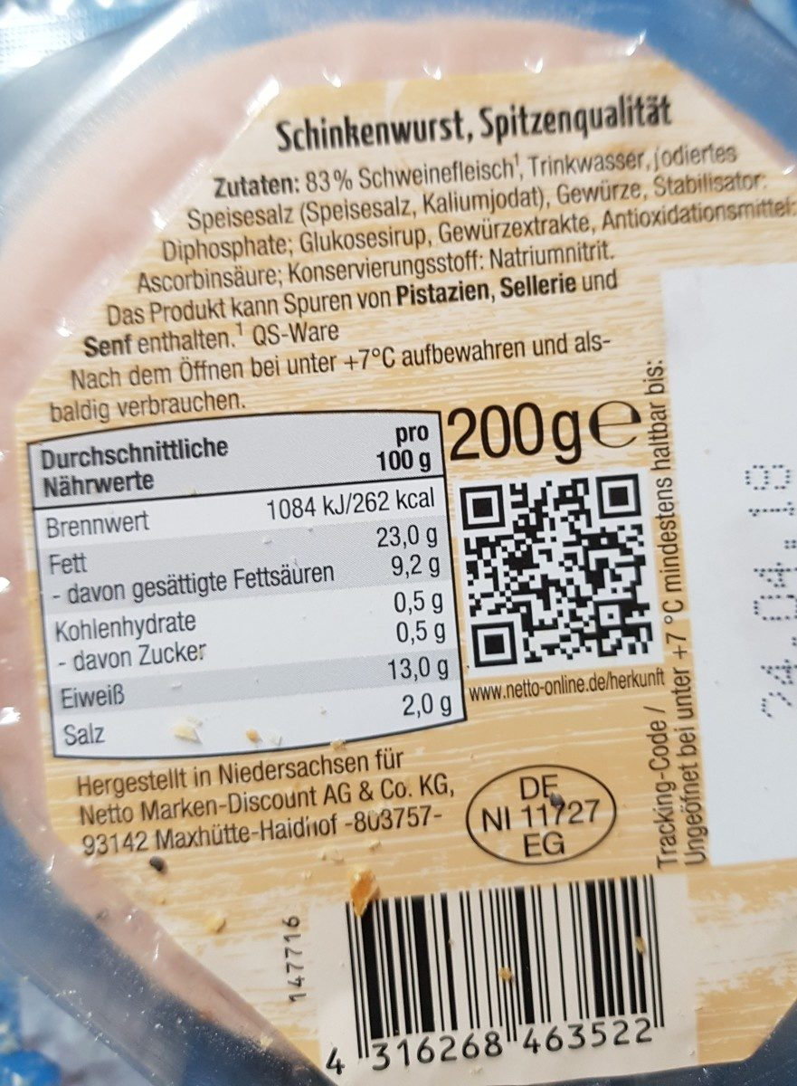 Schinken-wurst - Ingredients