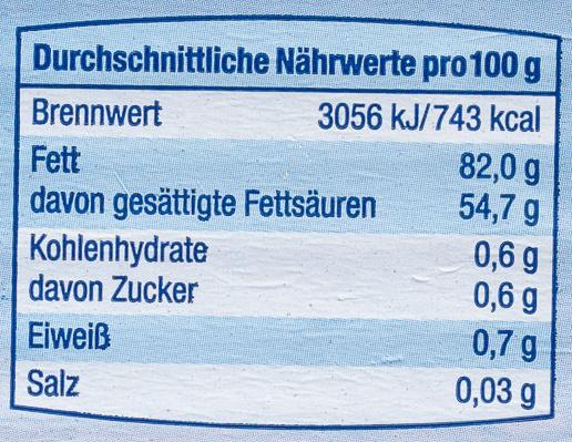 Deutsche Markenbutter mildgesäuert - Informations nutritionnelles - de