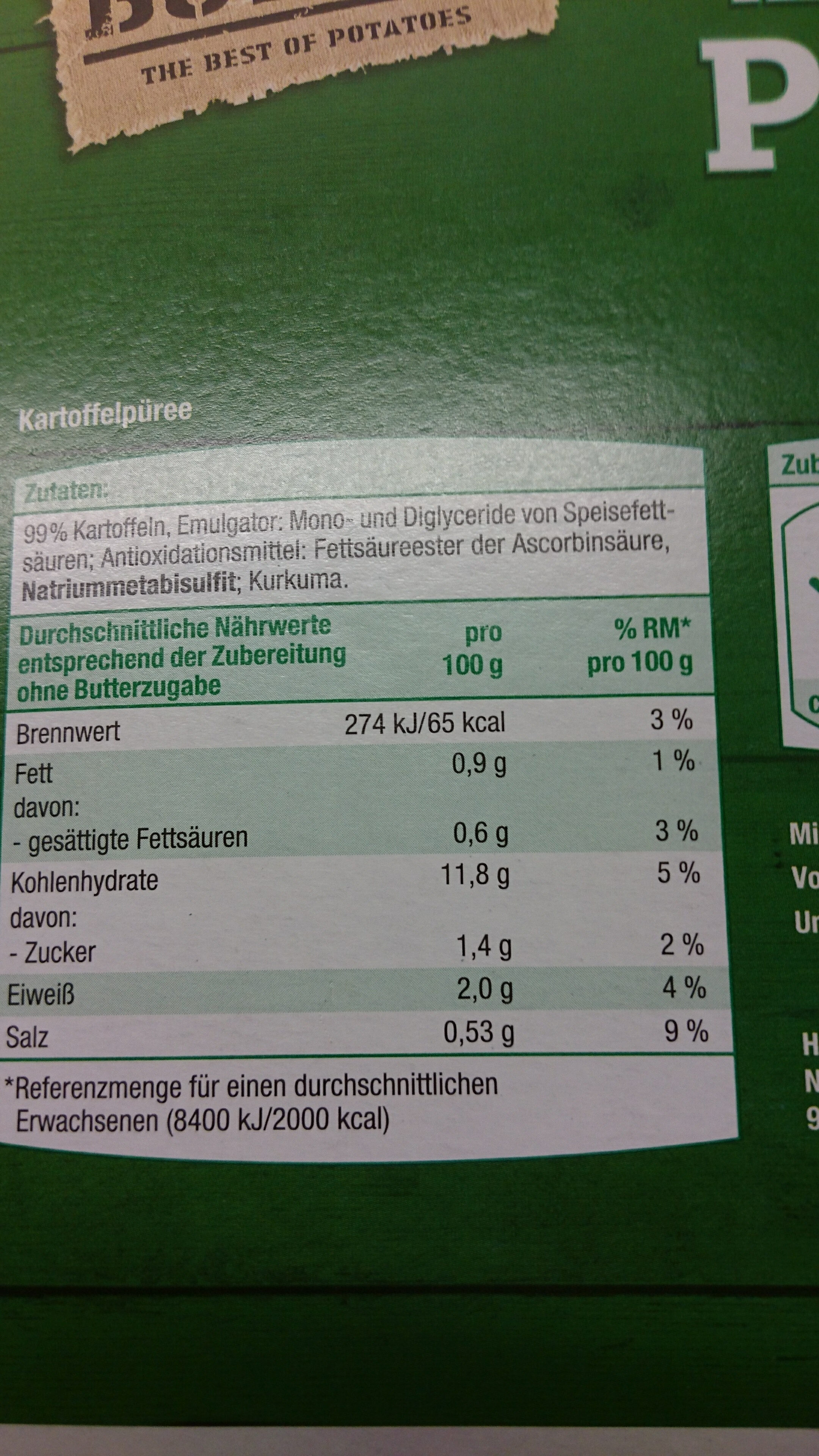 Kartoffelpüree - Ingredients