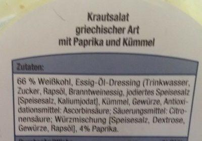 Krautsalat griechischer Art - Inhaltsstoffe