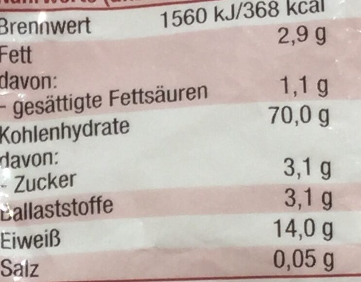 Buchstabennudeln - Informations nutritionnelles - de