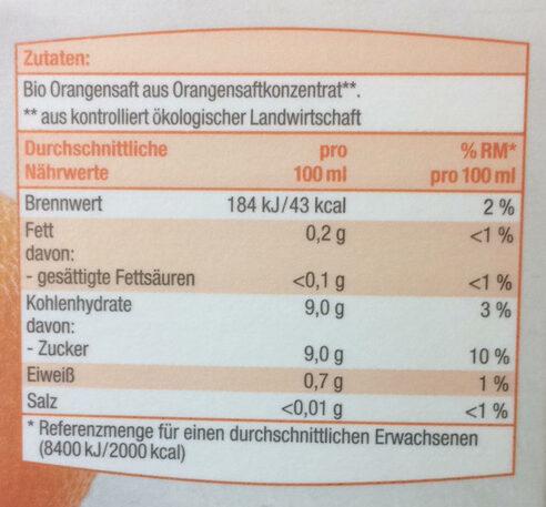Bio Bio Orangensaft - Informations nutritionnelles - fr