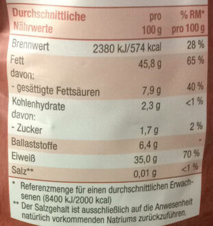 Steirische Kürbiskerne naturbelassen - Nutrition facts