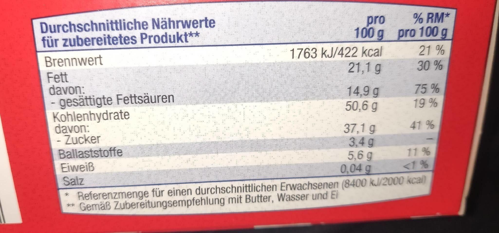 Brownie Backmischung - Informations nutritionnelles - de
