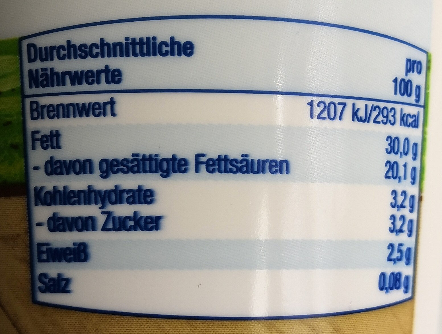 Schlagsahne (30%) - Nutrition facts - de