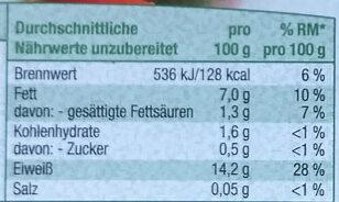 Tofu schnittfest - Informations nutritionnelles - de
