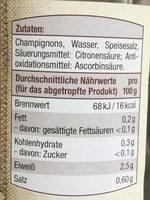 Champignons I. Wahl - Informations nutritionnelles