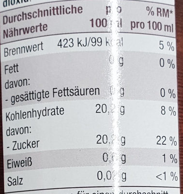 Condimento it - Nährwertangaben