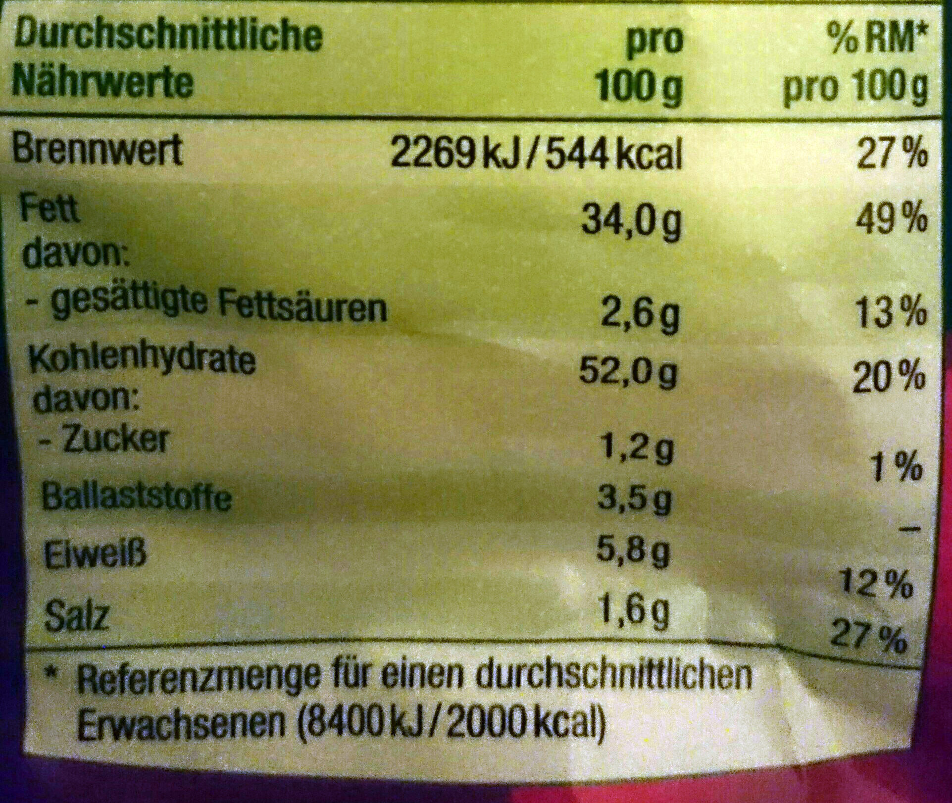 Kartoffel-Sticks Paprika-Geschmack - Informations nutritionnelles - de