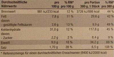 Holzofen Pizza - Voedingswaarden - de