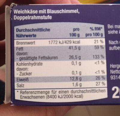 blau Schimmel Käse - Voedingswaarden - tr